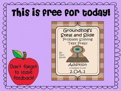 Fern Smith's Throwback Thursday's FREE TEST PREP for Groundhog's Day - Addition Word Problems with STEAL and SLIDE!