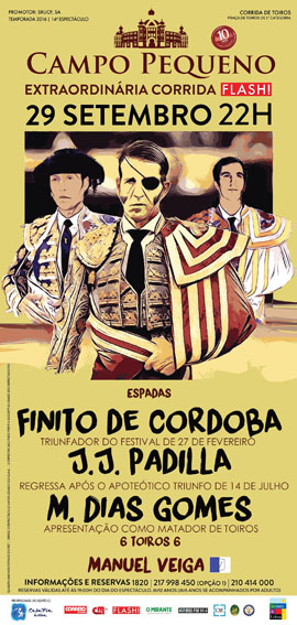 CAMPO PEQUENO (LISBOA) DIA 29-09-2016. GRANDE CORRIDA COM TRES MATADORES DE TOROS..
