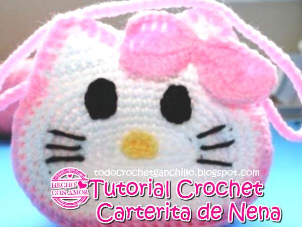 Aprende a tejer una cartera para niña con motivo Hello Kitty ganchillo