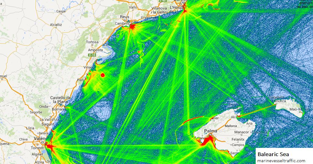 BALEARIC SEA SHIP TRAFFIC TRACKER   Marine Vessel Traffic