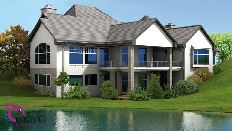 Esterni 3d rendering 3d architettura 3d case 3d for Rendering case moderne