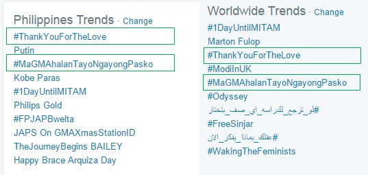 #ThankYouForTheLove vs. #MaGMAhalanTayoNgayongPasko Twitter trends