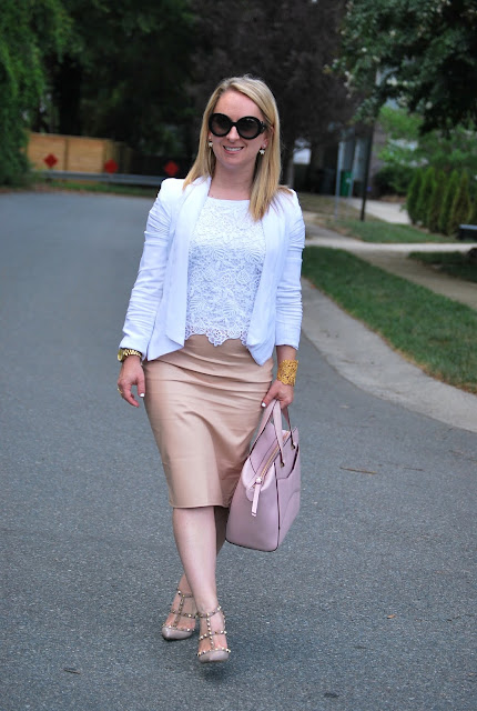 how to style blush tones, blush leather skirt,