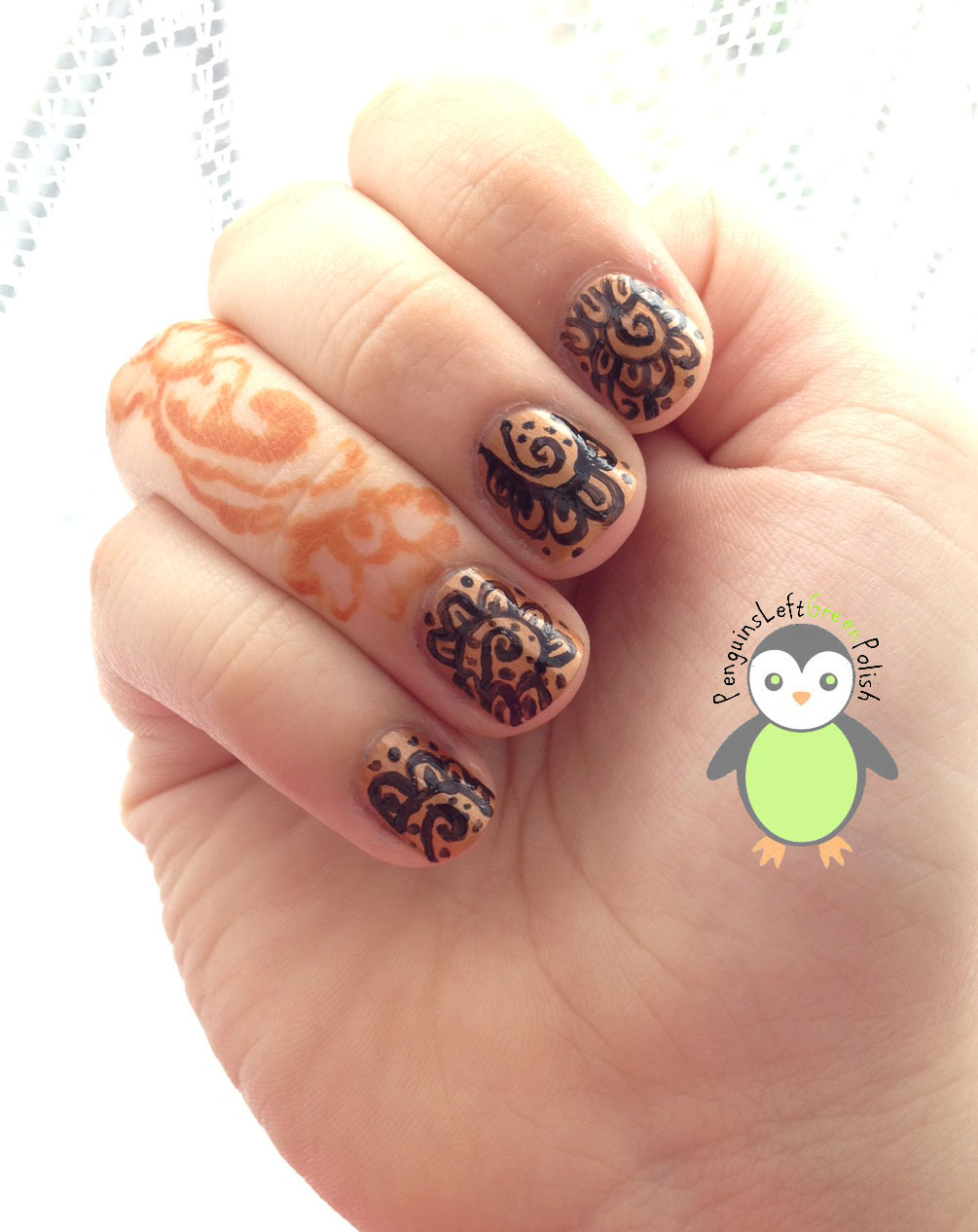 Henna Inspired Nail Art PenguinsLeftGreenPolish