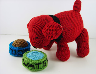knit dog puppy water food dish toy red