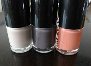 three Tony Moly nail polishes