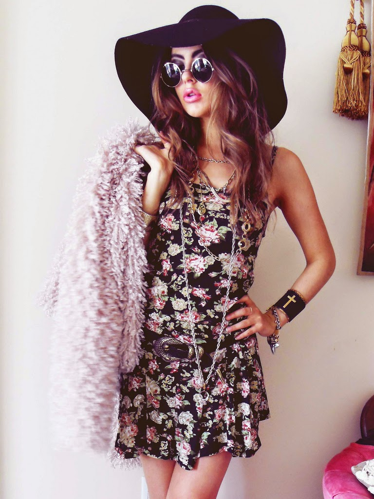 FLORAL DRESS FAUX FUR SHRUG CROPPED JACKET BOOTS FLOPPY HAT SUNGLASSES 3