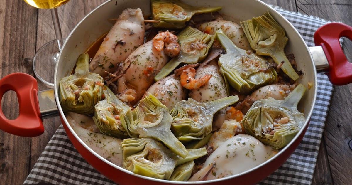 Calamares rellenos con alcachofas y langostinos for Cocinar calamares pequenos