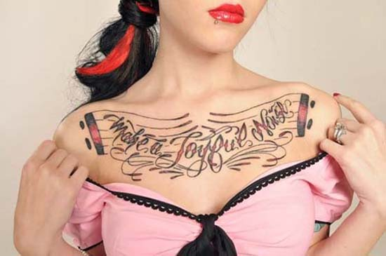 Chest Tattoos For Cute Girls 2012