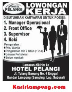 Lowongan Front Office Hotel Pelangi, Bandar Lampung Terbaru Maret 2013