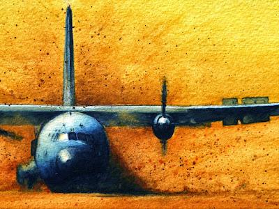 détail, C160, transall, posé terrain sommaire, aquarelle, aviation