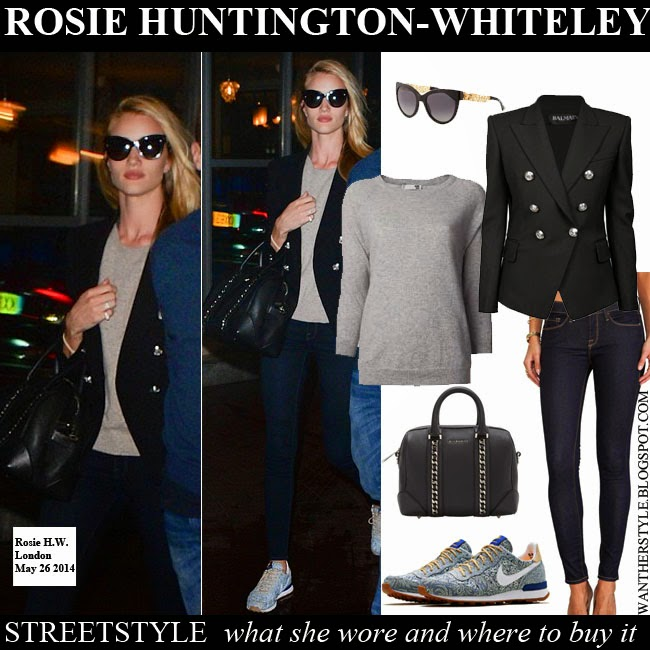 Rosie Huntington-Whiteley in black blazer Balmain, grey top Anine Bing,  skinny jeans 0d909398e9