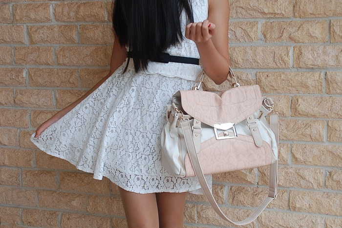 fashion, personal style, outfit, lace dress, pastel, satchel, pattern, tights