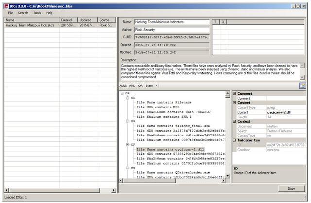 Edición del fichero OpenIoC para la detección del malware de Hacking Team empleando MANDIANT IoC Editor