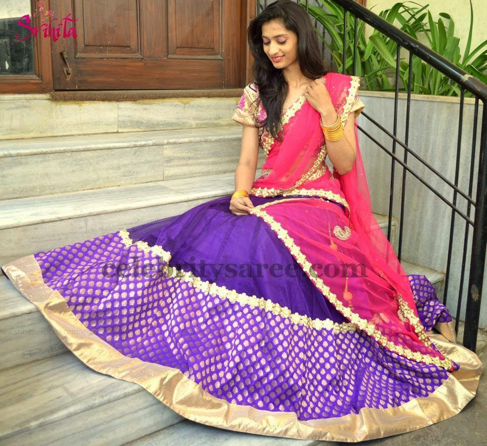 Polka Dots Chanderi Half Saree
