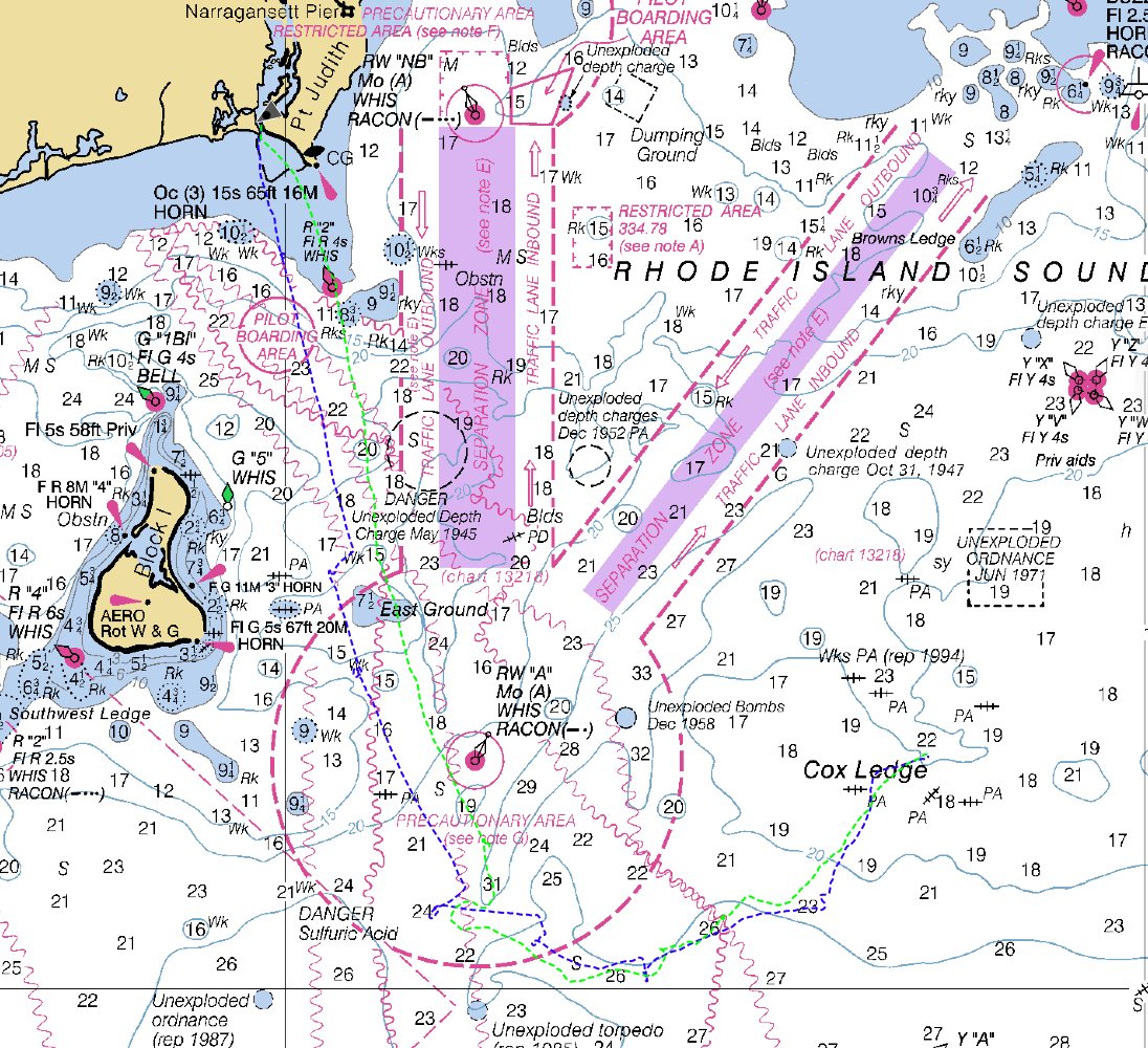 March 19, 2011 track log superimposed onto Block Island nautical chart...
