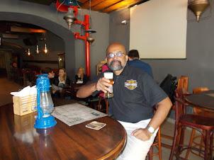 """Having a local """"Saris"""" beer in """"Halcienda  El Diablo Bar"""" in Bratislava."""