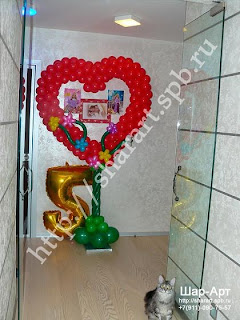 Сердце из шаров на день рождение