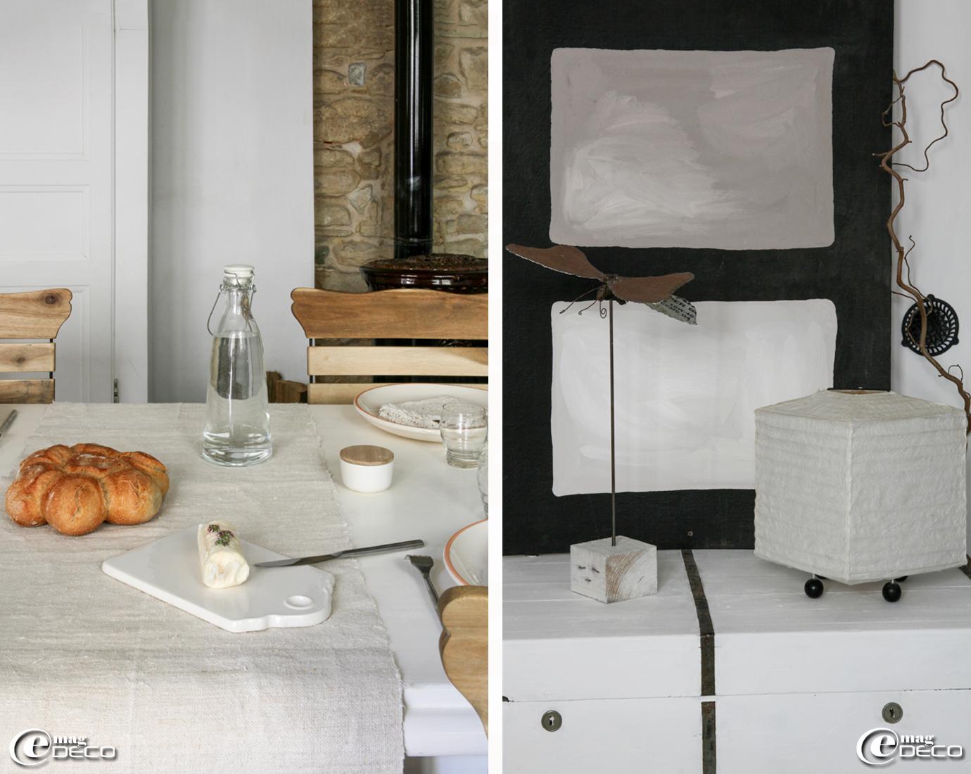Planche en céramique blanche, boutique 'Clair de Lune' à Uzès, papillon créé par Yoann Belland, lampe en papier 'AM.PM.'