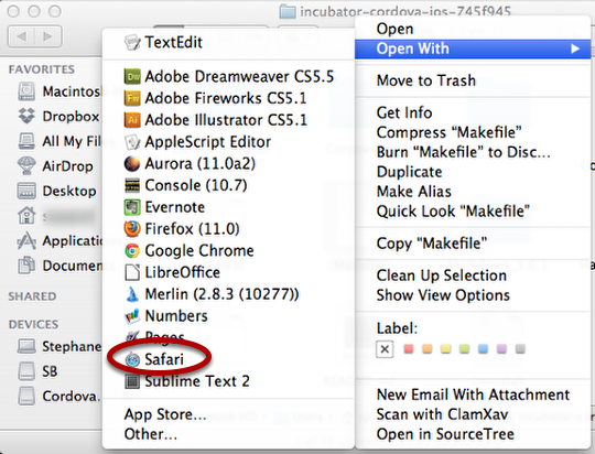 OS X Maverick with a cleanOpen With menu