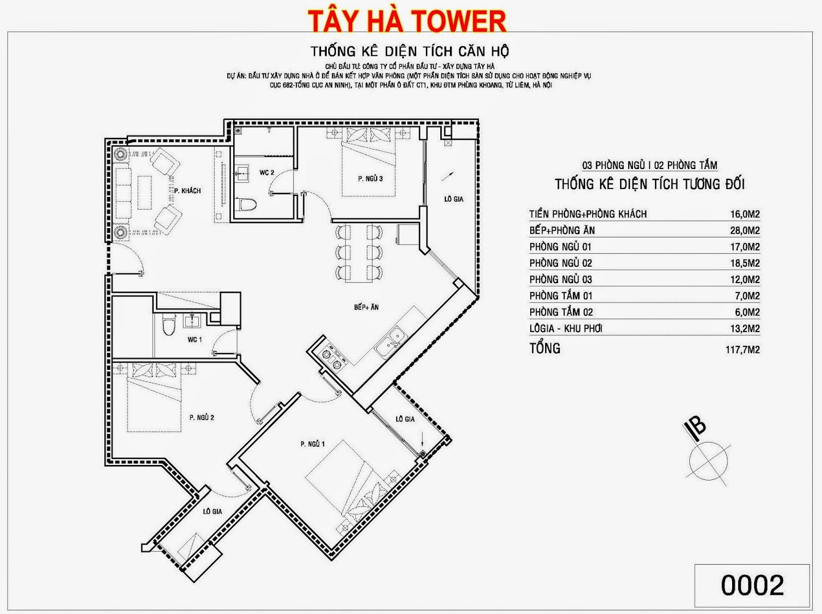Căn hộ số 2 chung cư Tây Hà Tower