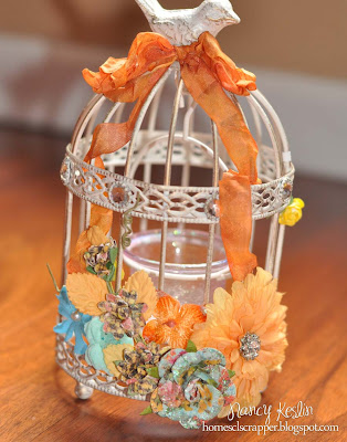 home decor, bird cage, prima flower seam binding, glimmer mist
