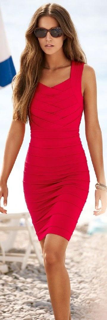 Short red dress...