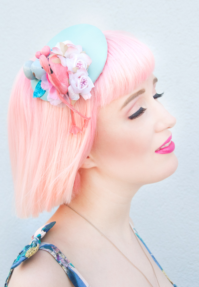 Bleach London Rose, Jazzafine, Flamingo Fascinator