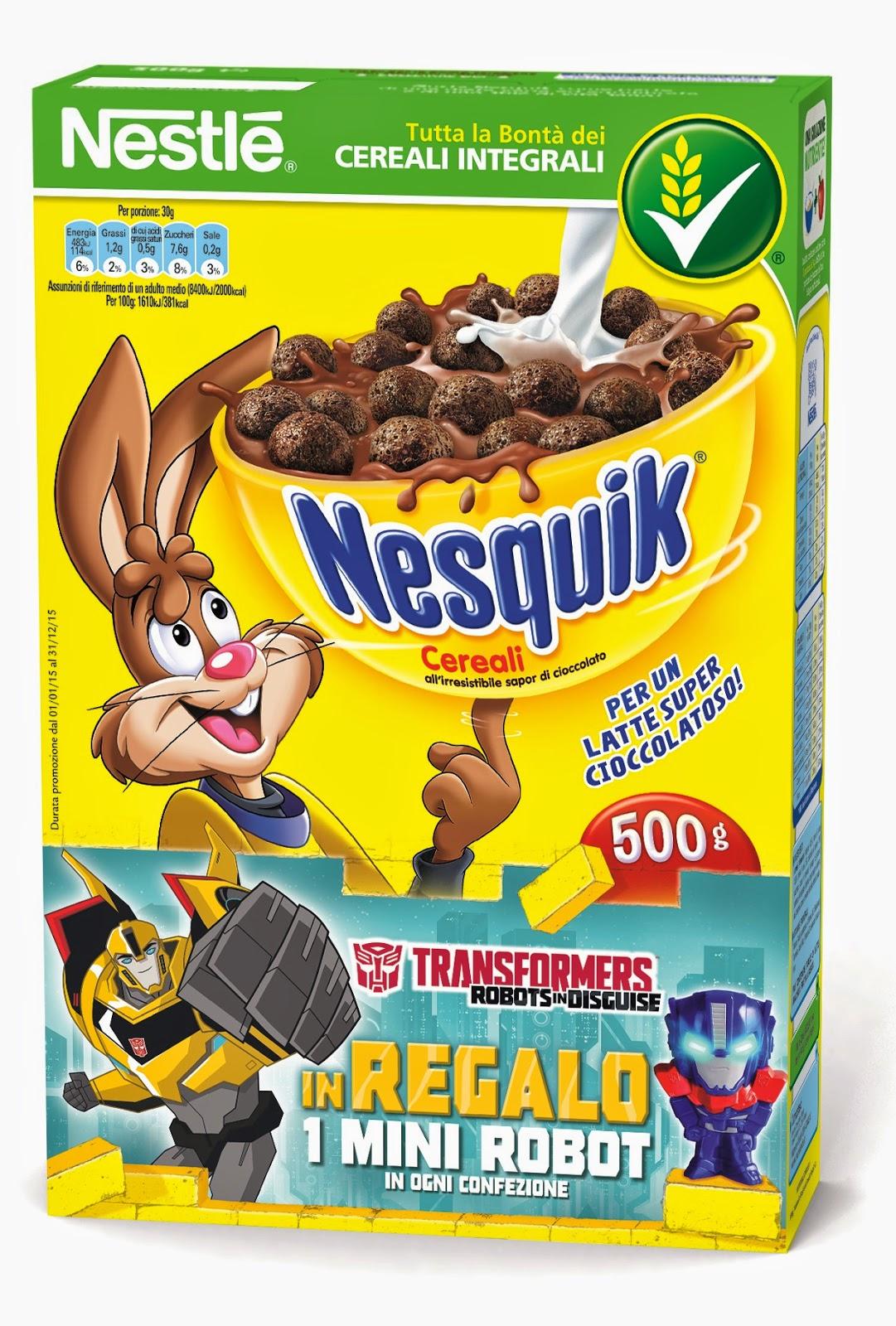 Con Nesquik  in regalo Transformers nuova promozione Nestle