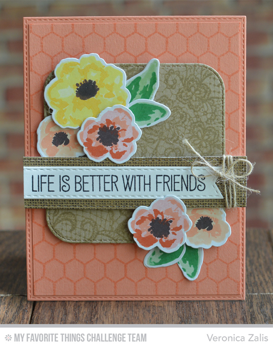 Better With Friends Card by Veronica Zalis featuring the Laina Lamb Designs Tickled Pink stamp set, Lace Background stamp, and Watercolor Flowers stamp set and Die-namics