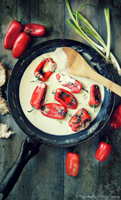 homemade recipe for Sweet Pan Roasted Peppers with Garlic Infused Sauce