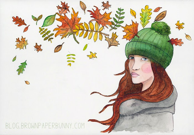 Fall colors fashion illustration in watercolor Jessica Mack