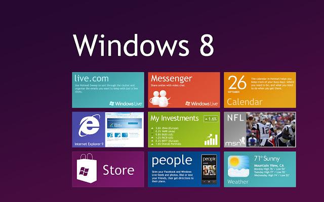 Paarse Windows 8 Metro wallpaper met witte letters en metro tegels