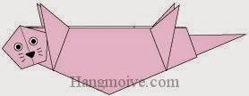 Bước 13: Vẽ mắt, mũi, râu để hoàn thành cách xếp con rái cá bằng giấy theo phong cách origami.