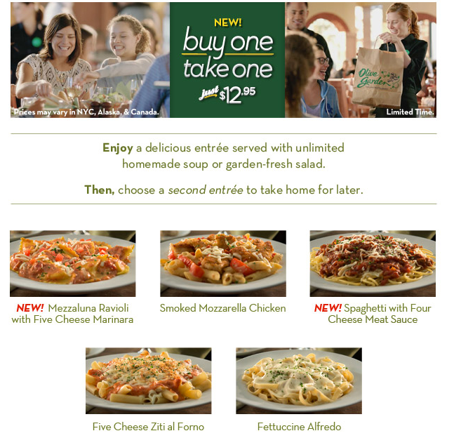 Hot Deals And Coupons Hs Olive Garden Buy 1 Entree Get 1 Free Take Home
