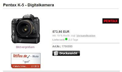 Spiegelreflexkamera Pentax K-5 Body für 581,85 Euro (Preisvergleich: 783,99 Euro)
