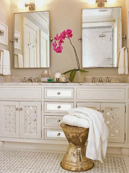 neutral master bathroom with gold accents white vanity