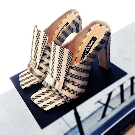 Sergio Rossi Striped Portofino Jacquard Sabot Sandals