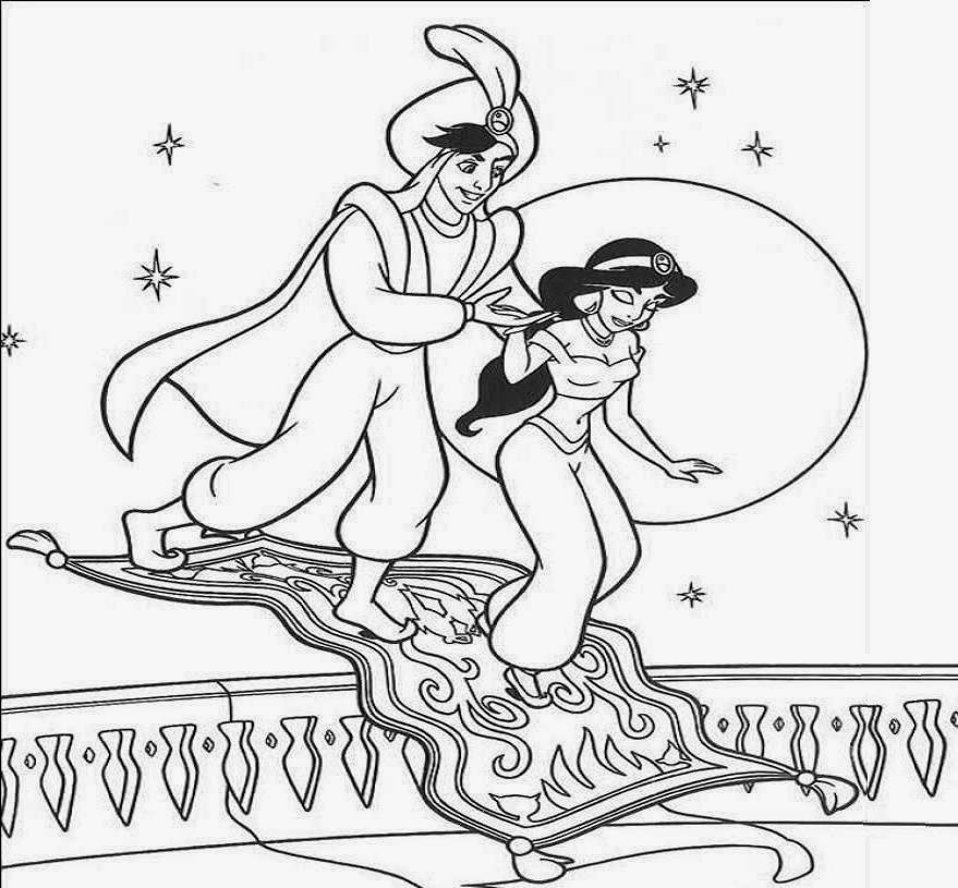 Disney Princess Jasmine And Aladdin Coloring Drawing Free wallpaper