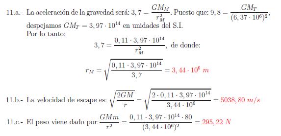 Examenes de selectividad campo gravitatorio problema resuelto 11