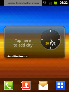 Widget AccuWeather Clock, pemilihan kota