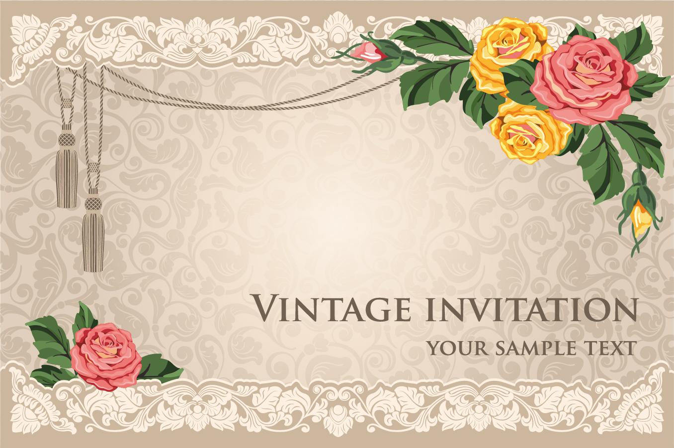 美しい花飾りの招待状テンプレート classical flowers green leaves background イラスト素材
