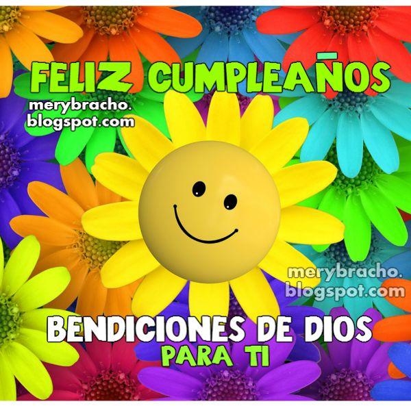 Linda imagen de cumpleaños con mensaje cristiano para felicitar en este día especial de cumple. Tarjeta postal cristiana gratis.