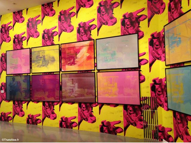 expo warhol unlimited serigraphie chaise electrique, papier peint vache warhol jaune rose, videos  musee art moderne paris palais Tokyo 2015