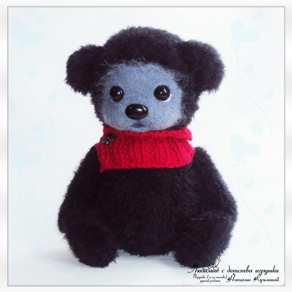 Мишка Тедди вязаный черный