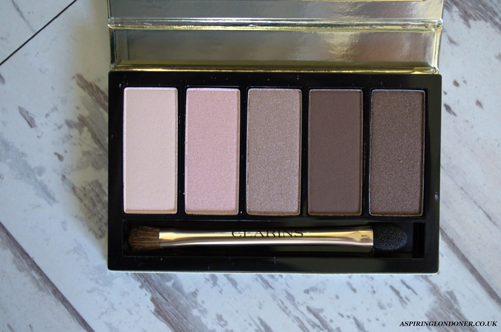 Clarins Pretty Day 5 Colour Eyeshadow Palette Swatch - Aspiring Londoner