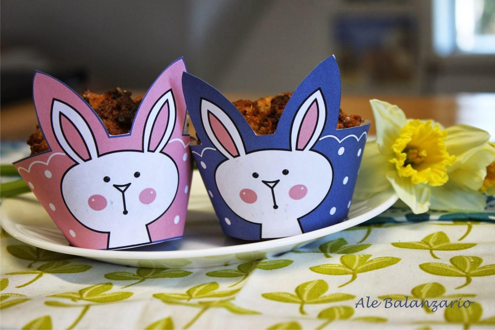 Conejos: Tiernos Wrappers para Cupcakes para Imprimir Gratis.