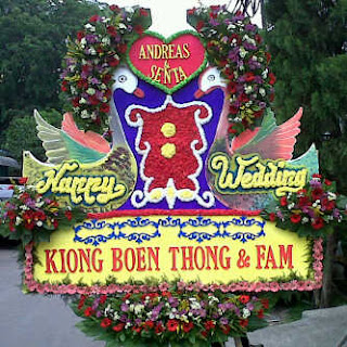 bunga papan pernikahan happy wedding mewah