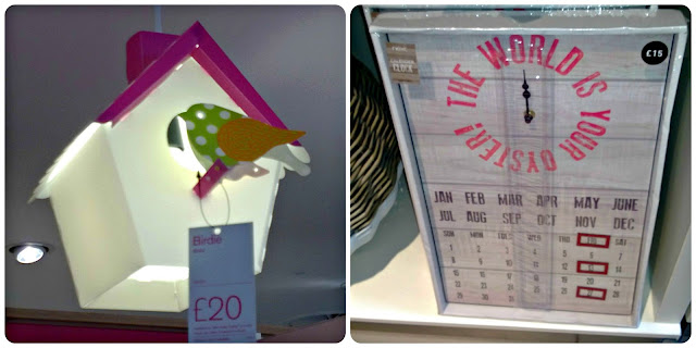 Next Birdhouse lightshade and calendar clock