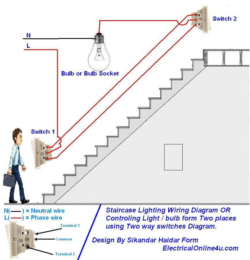 two%2Bway%2Blight%2Bswitch%2Bdiagram%2Bor%2Bstaircase%2Bwiring%2Bdiagram how to control a lamp light bulb from two places using two way wiring diagram for 1 light with 2 switches at crackthecode.co